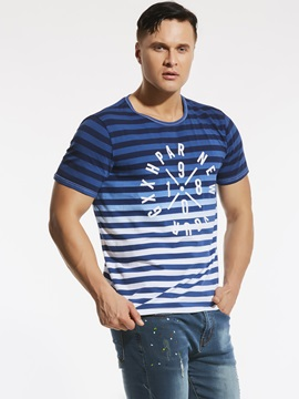Plus Size Numbers Letters Printed Men's Casual T-Shirt