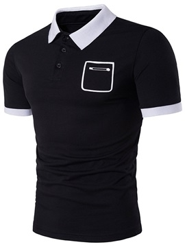 Lapel Pocket Slim Plain Men's T-Shirt