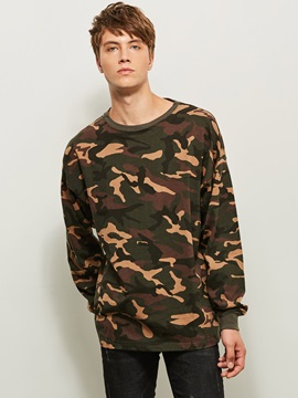 Round Neck Camouflage Baggy Thin Long Sleeve Men