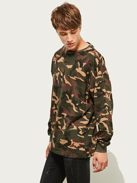 Round Neck Camouflage Baggy Thin Long Sleeve Men's Tee