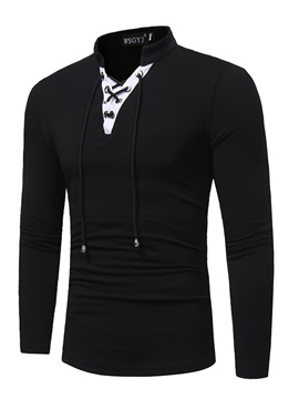 Stand Collar Solid Color Slim Long Sleeve Men's Tee