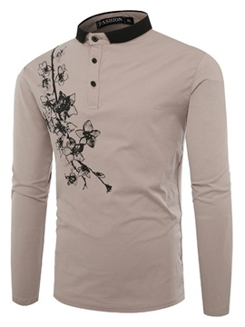 Lapel Slim Print Color Block Men's Polo