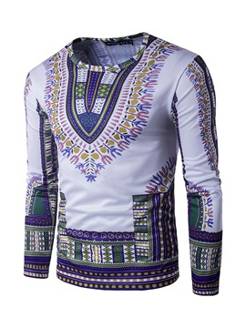 Round Neck African Print Color Block Long Sleeve Men's Pullover T-Shirt