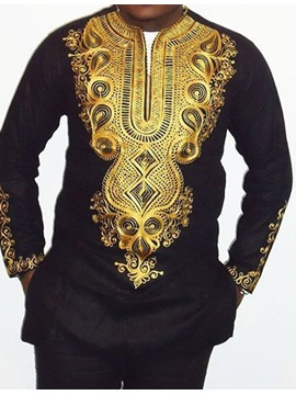 V-Neck African Fashion Dashiki Print Men's Long Sleeve T-Shirt