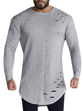Tidebuy Loose Round Neck Plain Long Sleeve Men's T-Shirt