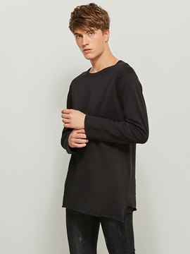 Tidebuy Round Neck Plain Long Sleeve Men's T-Shirt