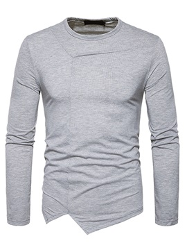 Tidebuy Solid Color Patchwork Long Sleeve Men's T-Shirt