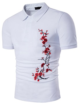 Tidebuy Floral Embroidery Men's Short Sleeve Polo