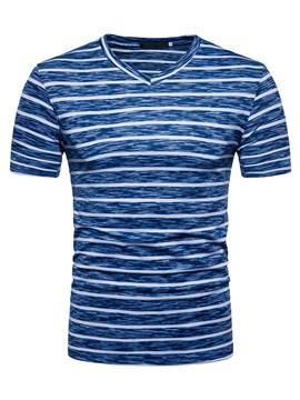 Tidebuy V-Neck Stripe Men's Short Sleeve T-Shirt