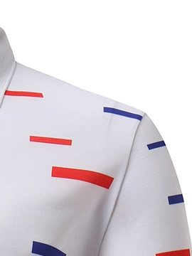 Tidebuy Red and Blue Stripe Men's White Polo