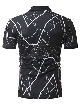 Tidebuy Geometric Print Plain Men's Polo