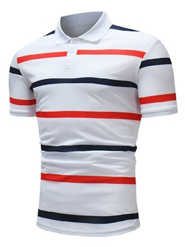 Tidebuy Color Block Stripe Men's Slim Polo