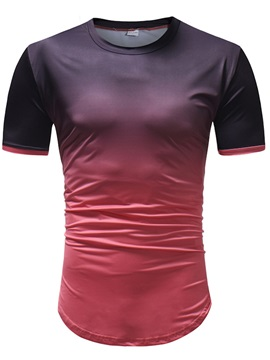Tidebuy Gradient Round Neck Men's Summer T-Shirt