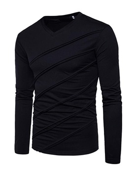 V-Neck Pleated Long Sleeve Men's Casual T-Shirt