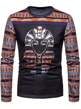 Color Block Ethnic Pattern Men's Casual T-Shirt