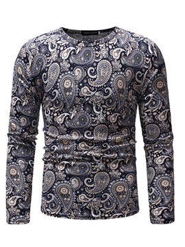 Round Neck Floral Print Long Sleeve Men's T-shirt