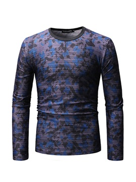 Round Neck Unique Print Long Sleeve Men's T-shirt