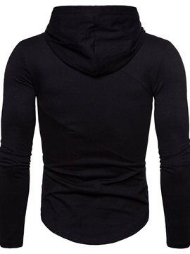 Hooded Plain Casual Long Sleeve Men's T-shirt