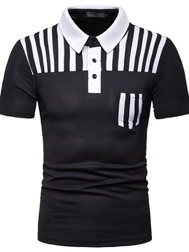 Color Block Casual Stripe Men's Polo Shirt