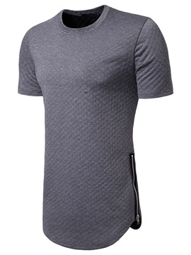 Plain Casual Round Neck Loose Men's T-shirt