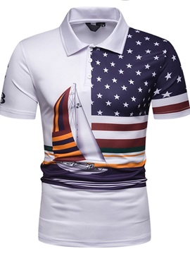 Color Block Geometric Print Casual Men's Polo