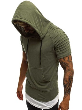 Plain Hooded Patchwork Pleated Men