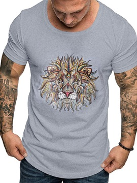 Animal Print Round Neck Men's T-shirt