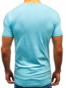 Color Block Hole Round Neck Slim Men's T-Shirt