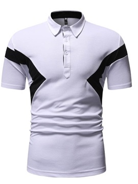 Casual Color Block Patchwork Button Men's Polo