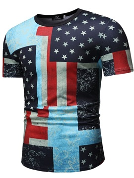 Color Block Flag Star Round Neck Men's T-Shirt