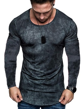 Round Neck Color Block Long Sleeve Men
