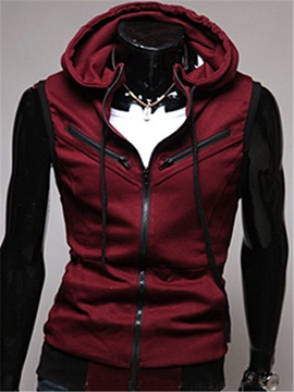 Solid Color Zip-Front Hooded Vest