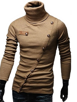Stand Collar Long Sleeves Slim Polo Shirt