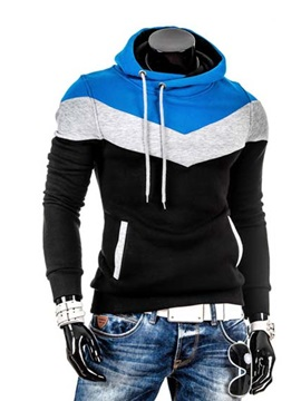 Color Block Stand Collar Long Sleeve Hoodie