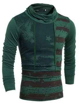 European Slim Fit High Collar Flag Printed Men's Long Sleeve T-shirt