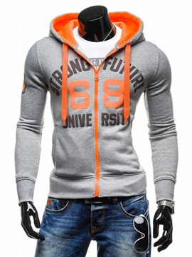 Men's Thicken Zipper Number Printed Contrast Zipper Cardigan Hoodies