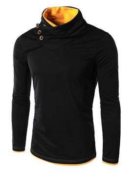 Lined Color Block Cowl Neck Button Decorated Men's Hoodies