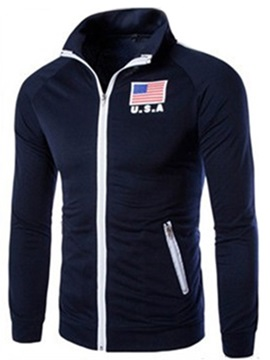 Flag Printed Zip-Pockets Design Men's Cardigan Sports Hoodie