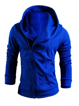 Oblique Zipper Solid Color Men's Hoodie with Hat