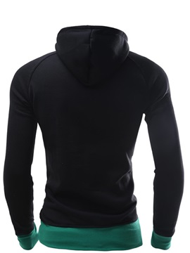 Contrast Color Lace Up Zip Pocket Men's Pullover Hoodie