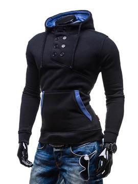 Double-Breasted Slim Fit Pullover Men's Hoodie