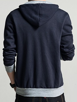 Color Block Lace Up Hood Zip Front Men's Cardigan Hoodie
