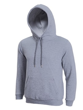 Solid Color Kangaroo Pocket Lace Up Men's Hoodie