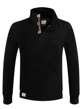 Stand Collar Three Buttons Men's Pullover Hoodie