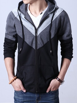 Color Block Lace Up Men's Cardigan Hoodie with Hat