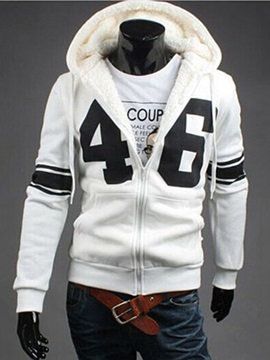 Number Printed Lace Up Men's Hoodie with Velevt