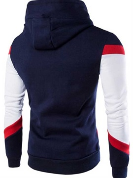 Color Block Lace Up Men's Hoodie with Hat