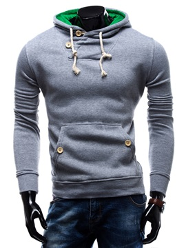 Solid Color Lace Up Men's Hoodie with Hat