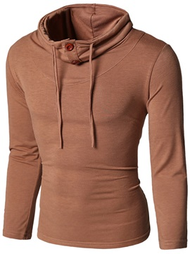 Plain High Collar Men's Casual Hoodie