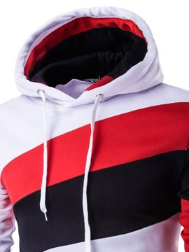 Patchwork Cotton Blends Lace-Up Men's Casual Hoodie